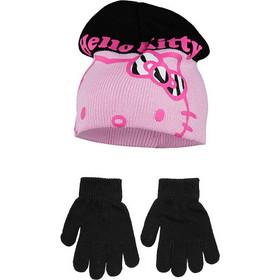 fb79576878d Βρεφικό Σετ Σκουφάκι και Γάντια Χρώματος Μαύρο Hello Kitty Disney NH4326
