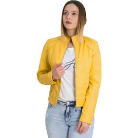 c7199163622 Γυναικείο κίτρινο μπουφάν δερματίνη με τσέπες AW068Y