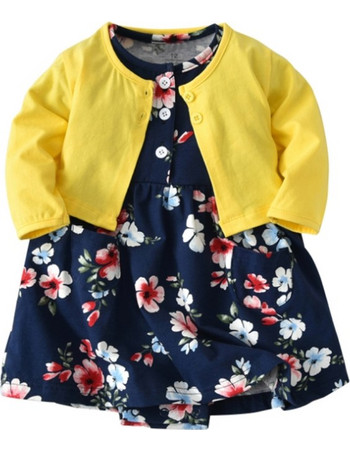 09147555620f Baby Girl Fashion Cute Long Sleeve Cotton Coat + Deep Blue Printing Flower  Pattern Dress Suit
