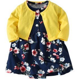 076af1c928e8 Baby Girl Fashion Cute Long Sleeve Cotton Coat + Deep Blue Printing Flower  Pattern Dress Suit