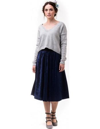 Μπλε Μίντι Βελούδινη Φούστα με Λάστιχο f913691ccc1