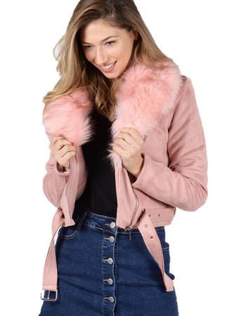 Μπουφάν αλκαντάρα με επένδυση και αποσπώμενη γούνα Ροζ - Ροζ ff84bc7943f