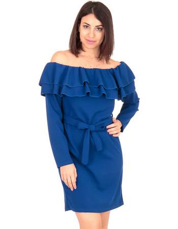 5ccd98b4f3e2 Μπλε Ρουά Off Shoulder Mini Φόρεμα με Βολάν και Ζωνάκι Μπλέ Silia D