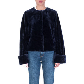 42a88617f442 NA-KD 1100-000442 MIDNIGHT BLUE WIDE CUFF FAUX FUR JACKET