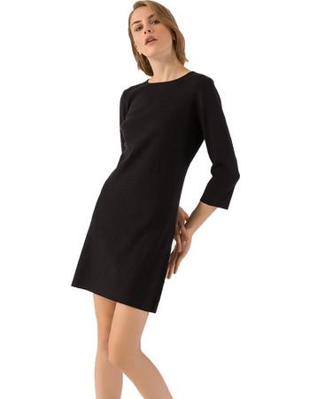 Mini πλεκτό φόρεμα σε ίσια γραμμή - Μαύρο df04467e1da