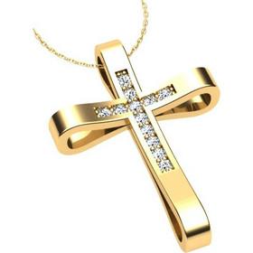 Γυναικείος σταυρός σε κίτρινο χρυσό Κ18 με μπριγιάν (μήκος σταυρού χωρίς  χαλκά 2 bf3ceeaf1ae