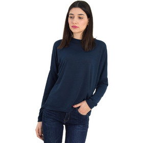 067a6b5f8efc Γυναικεία μπλε μακρυμάνικη μπλούζα μονόχρωμη 568971