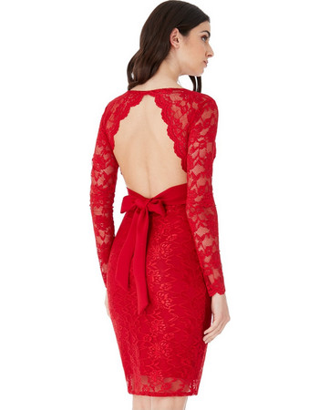db4ea4ff962f Ροματικό μακρυμάνικο μίντι φόρεμα με δαντέλα και άνοιγμα στην πλάτη- Κόκκινο