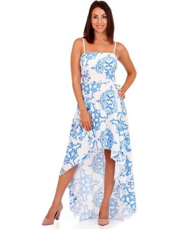 b63dd3f952a5 Λευκό Ασύμμετρο Maxi Φόρεμα με Μπλέ Σχέδια Λευκό Silia D