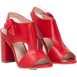 92bb8b4cbe Peep toe πέδιλα με χοντρό τακούνι - Κόκκινο
