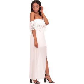 d263c10e2657 Λευκό Σετ Maxi Φούστα με Σκίσιμο και Off Shoulder Τοπ Λευκό Silia D