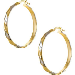 Σκουλαρίκια κρίκοι από λευκό και κίτρινο χρυσό 14 καρατίων. OIK22432GW cab77aeb07b