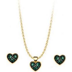 Σέτ κολιέ και σκουλαρίκια συλλογή Love καρδιές από επιχρυσωμένο ασήμι με πέτρες  Swarovski 6de9f12425a
