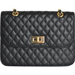 Γυναικεία καπιτονέ τσάντα ώμου μαύρη δερματίνη 60662 f8e2ad99004
