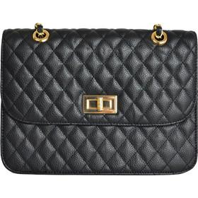 Γυναικεία καπιτονέ τσάντα ώμου μαύρη δερματίνη 60662 eb8d7d90208