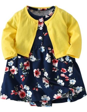 Baby Girl Fashion Cute Long Sleeve Cotton Coat + Deep Blue Printing Flower  Pattern Dress Suit e2ee4be5ba3