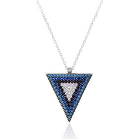 Ασημένιο κολιέ σε σχήμα τρίγωνο διακοσμημένο με λευκά a992c13e16a