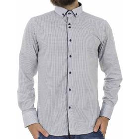67d9bdad8fdd Ανδρικό Πουά Μακρυμάνικο Πουκάμισο Slim Fit CND Shirts 2750-17 Λευκό