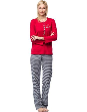 f6237ef369b0 Vamp γυναικεία χειμωνιάτικη πιτζάμα κόκκινη μπλούζα vichy καρό παντελόνι  7481