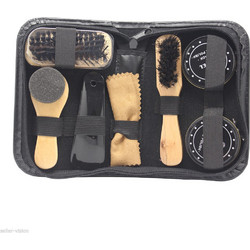 37eb68b182 8 in 1 Black And Neutral Shoe Shine Polish Cleaning Brushes Set Kit in  Travel Case