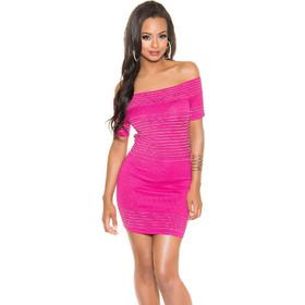 3c28c9f3986d 41470 FS Μίνι πλεκτό φόρεμα με κάτω τους ώμους - φούξια