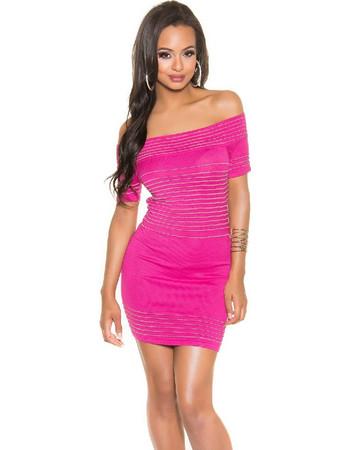 7c8233bf376c 41470 FS Μίνι πλεκτό φόρεμα με κάτω τους ώμους - φούξια