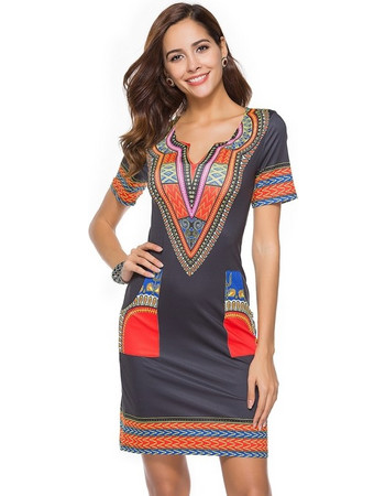dc6df37d11a3 New Women Summer Dress Sexy Tight Ethnic Style Short Sleeve V-neck Vintage  Print Mini