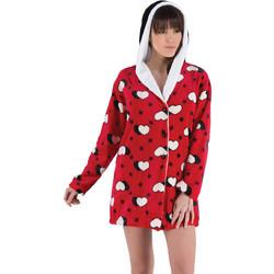 7efe2923d52f Rachel κόκκινη χνουδωτή γυναικεία χειμωνιάτικη ρόμπα-ζακέτα με καρδιές και  κουκούλα 11949
