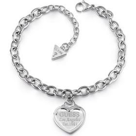 Βραχιόλι Guess ασημί από ορείχαλκο με καρδιά UBB28017 89b0757f429