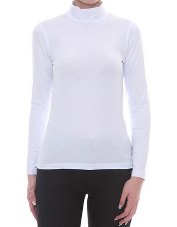 Maranda βαμβακερή άσπρη μακρυμάνικη μπλούζα με όρθιο λαιμό κωδ.790 59b860b1b4a