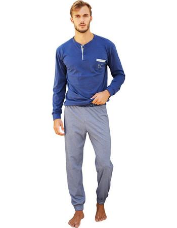 Enrico Coveri μπλε (bluette) λεπτή χειμωνιάτικη πυτζάμα με εμπριμέ  παντελόνι Sport EP8042 e59aa5ee2a7