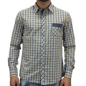 8054b5067e10 Καρό πουκάμισο Dash Dot 05109 (Κίτρινο-Μπλε)