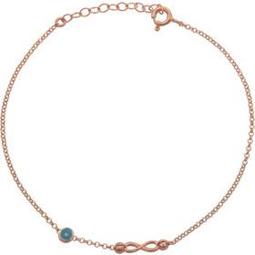 Βραχιόλι άπειρο με ματάκι από ασήμι 925 - ASBG703R - Ροζ χρυσό 33c0f68d5be