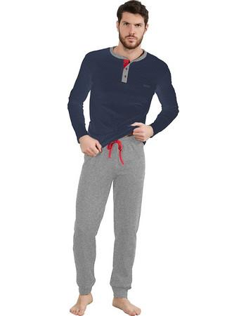 Ogham χειμωνιάτικη αντρική πιτζάμα μπλε πουά μπλούζα-γκρι μελανζέ παντελόνι  7309 eb6073e3760