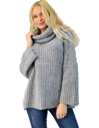 5413955a4174 Γυναικεία πλεκτή μπλούζα ζιβάγκο oversized. Potre