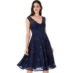 bf48e5ae878 Μίντι φόρεμα με δαντέλα και άνοιγμα στην πλάτη - Navy Μπλε