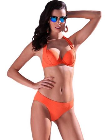 acc41ff0633 Jolidon γκοφρέ πορτοκαλί σετ μαγιό push up cup D με σλιπ Playa Paraiso F2475