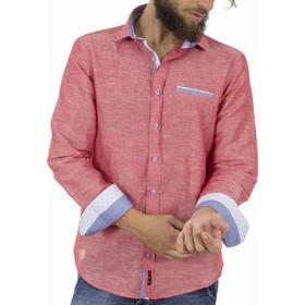 96e1236558a5 Ανδρικό Λινό Μακρυμάνικο Πουκάμισο Slim Fit CND Shirts 2650-1 Ροζ
