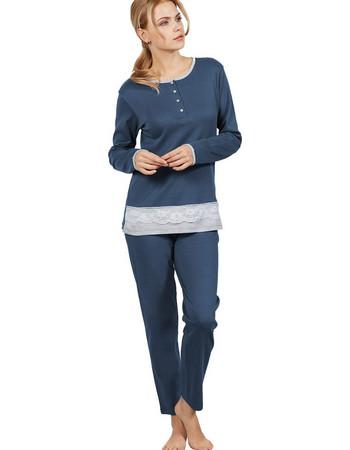 Ogham μπλε γυναικεία χειμωνιάτικη πιτζάμα με δαντέλα 7529 99d1167d2ee