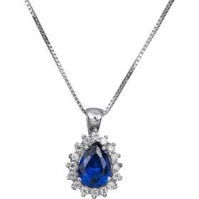 Λευκόχρυσο κολιέ ροζέτα Κ14 με μπλε πέτρα ζιργκόν 030755 030755 Χρυσός 14  Καράτια 8bbcb7f7f1b