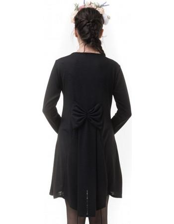 34b72cb516dd Μαύρο Κοντό Φόρεμα Πλεκτό με Φιόγκο   Ουρά