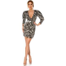 bd4517cd9690 9289 RO Ιδιαίτερο μίνι φόρεμα σακάκι με ζώνη - Γκρι