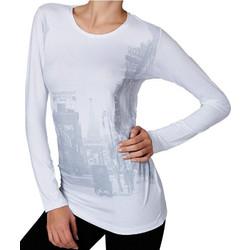 29911b0d143d Jadea άσπρη βισκόζ μακρυμάνικη μπλούζα με στάμπα πόλη 4290Α