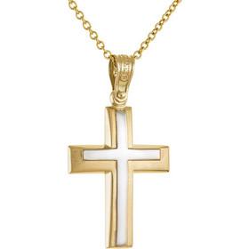 Σταυρός από λευκό και κίτρινο χρυσό 14 καρατίων. OM24817 e2205779933