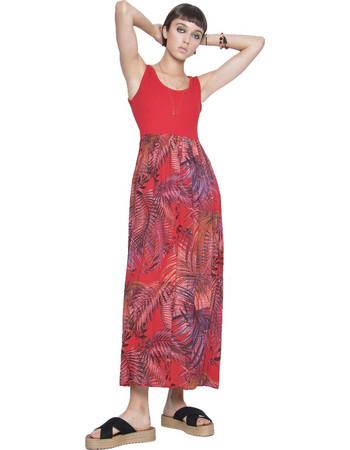 Μάξι φόρεμα με συνδυασμούς χρωμάτων - Κόκκινο 5a3efa740df