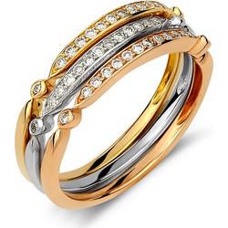 Σετ με 3 μοντέρα μισόβερα δαχτυλίδια σε 3 διαφορετικές αποχρώσεις χρυσού 18  καρατίων με διαμάντια. 57925e2964c