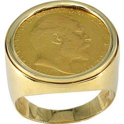 Ανδρικό δαχτυλίδι χρυσό 14 καράτια με χρυσή λίρα 22 καράτια 1a215abe63f