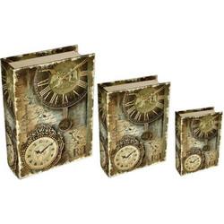 3e0c78a464 Σετ 3 κουτιά-βιβλία από ΜDF Ρολόγια
