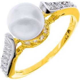 Δαχτυλίδι από κίτρινο χρυσό Κ14 με μαργαριτάρι και ζιργκόν DMR079A d49be31949a