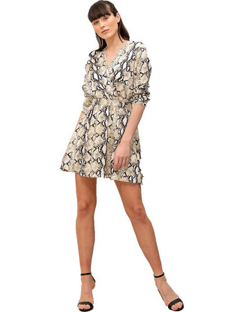 a92adb319b74 Mini κρουαζέ φόρεμα με snake print και μακριά μανίκια - Μπεζ